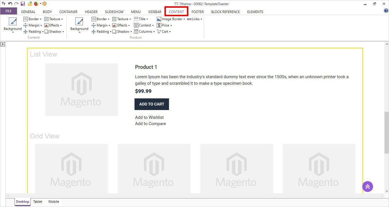 style content option templatetoaster