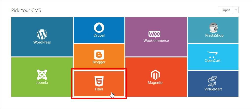 choose html templatetoaster