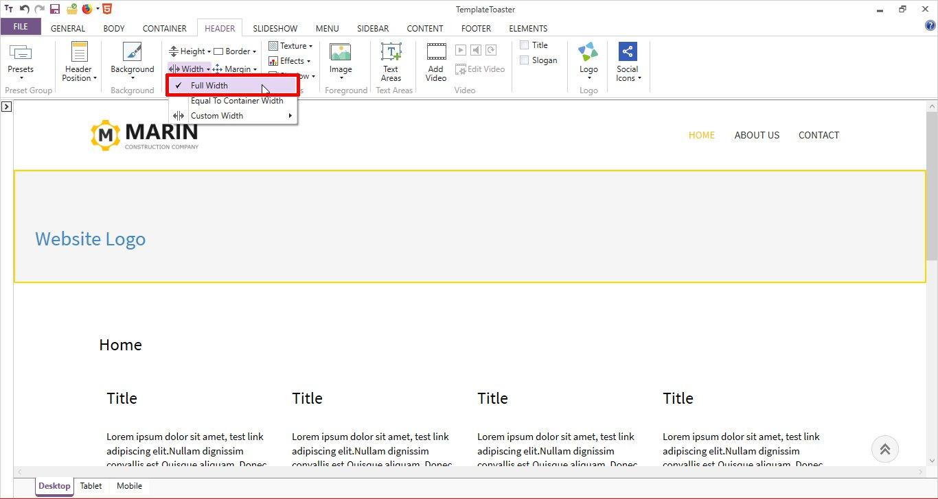 html header full width