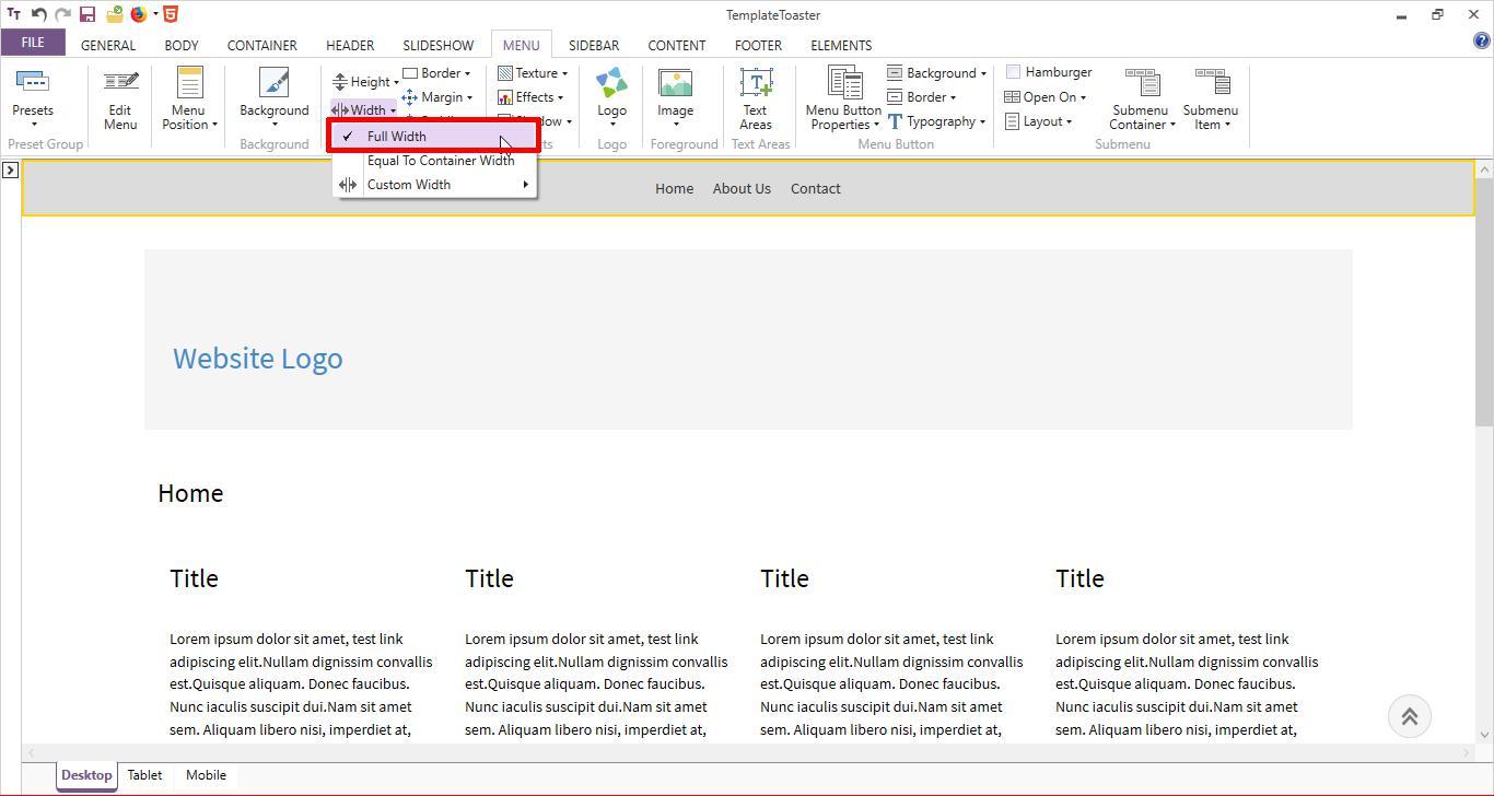 html menu full width