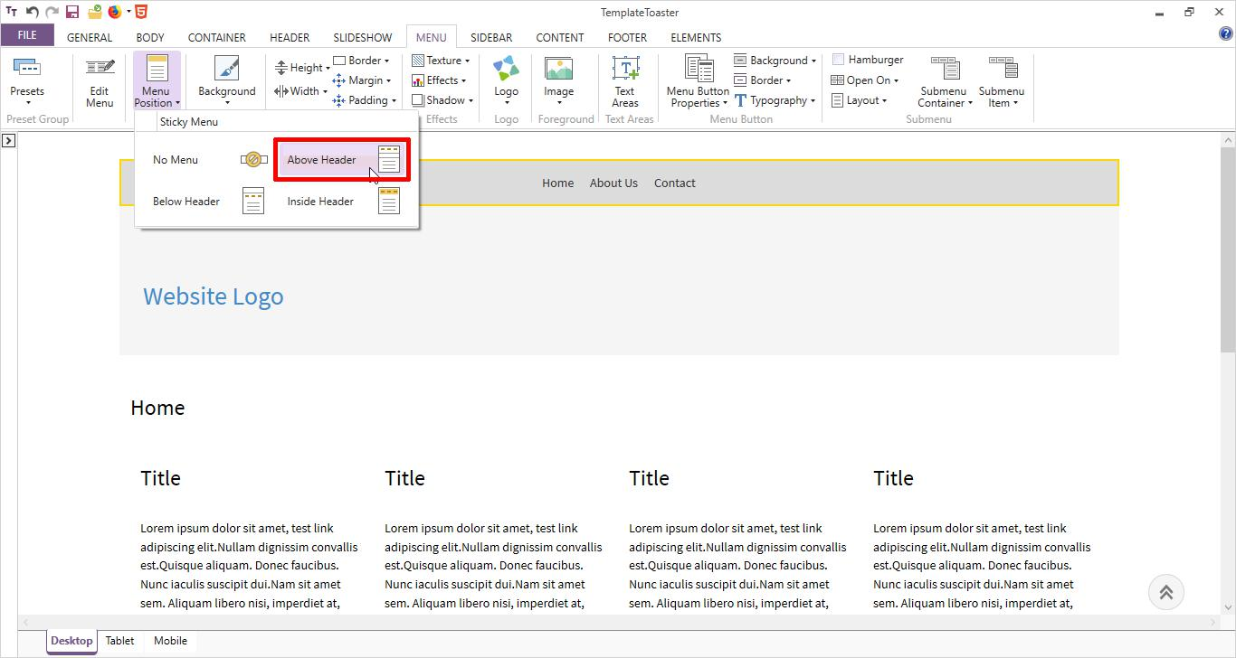html menu position above header