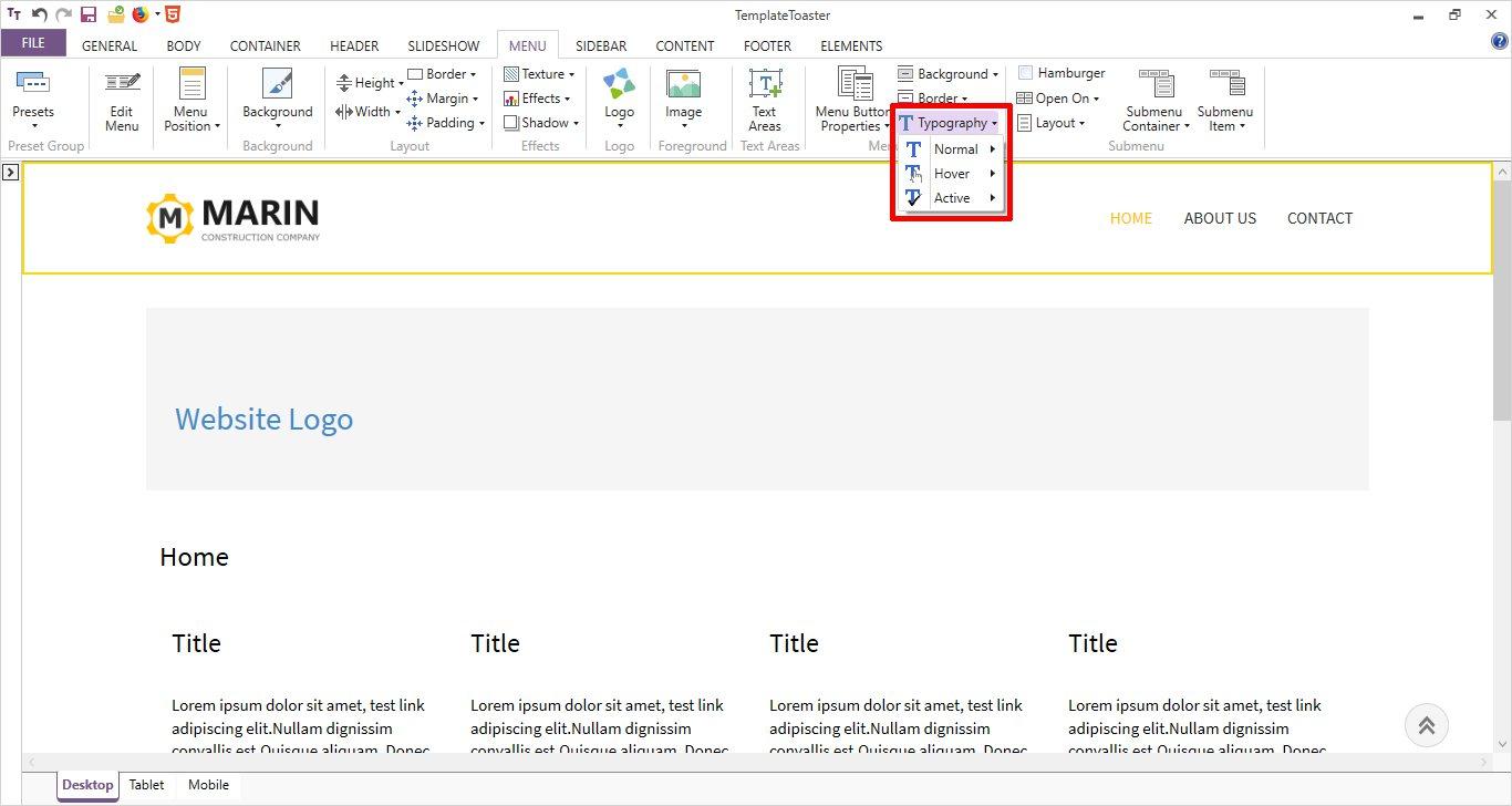 html menu typography