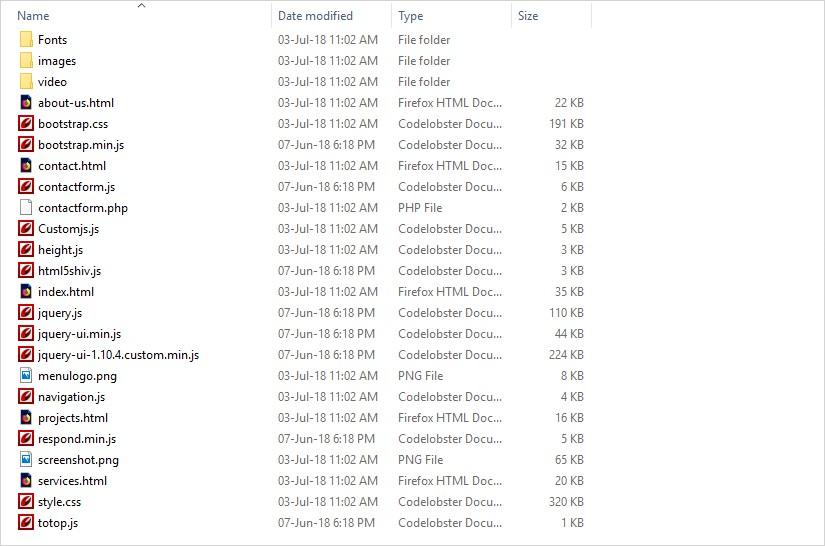 html folder structure after export