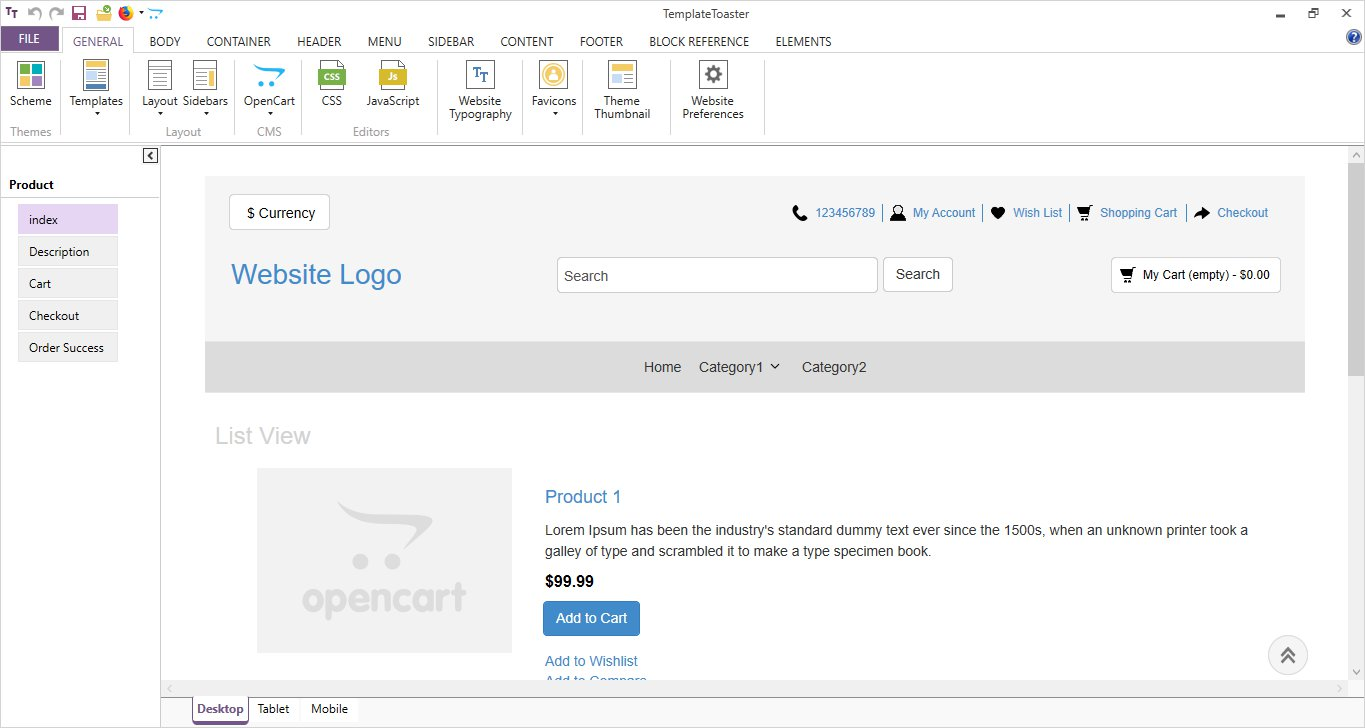 opencart main interface in templatetoaster
