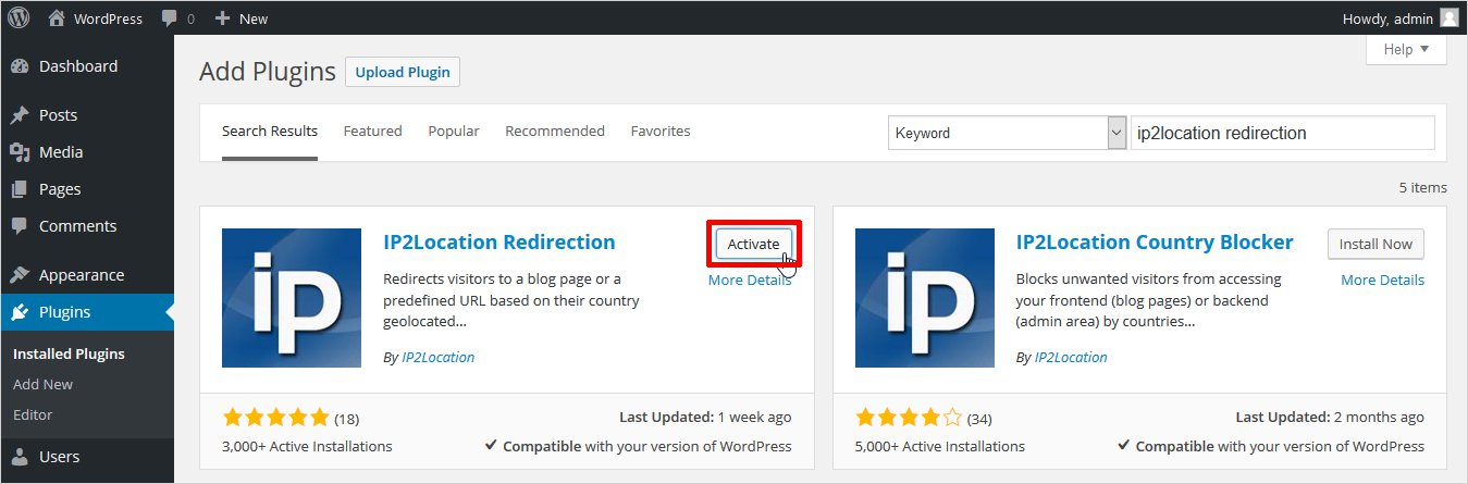 activate ip2location redirection plugin