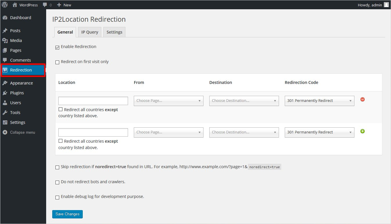 ip2location redirection dashboard