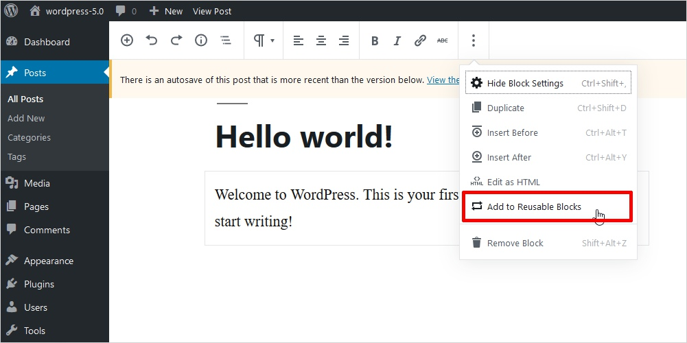 add reusable blocks wordpress 5