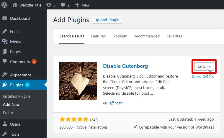 activate disable gutenberg wordpress editor
