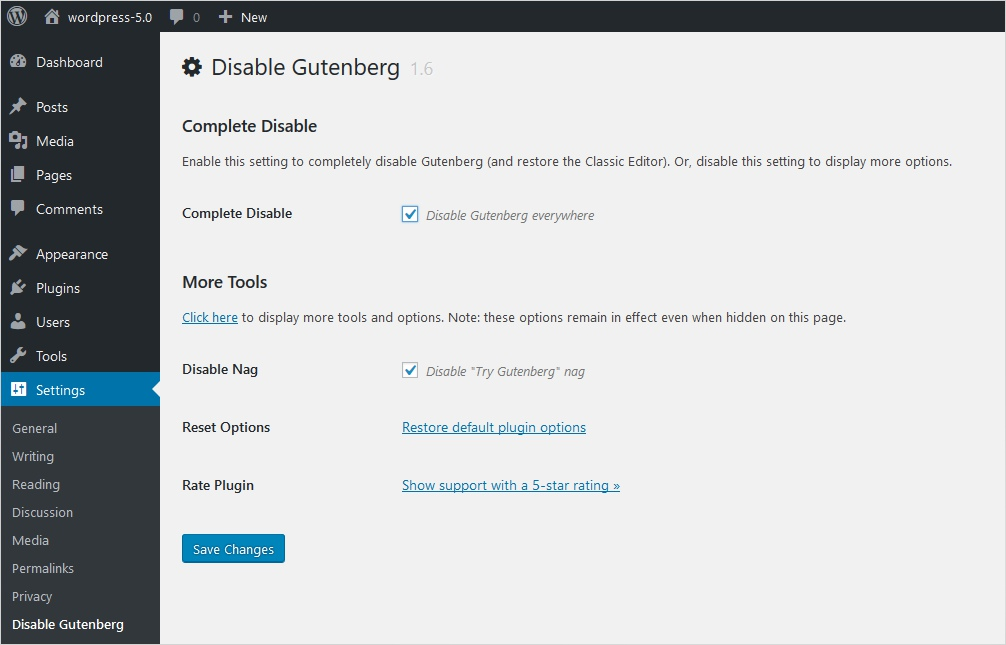 complete disable gutenberg wordpress plugin