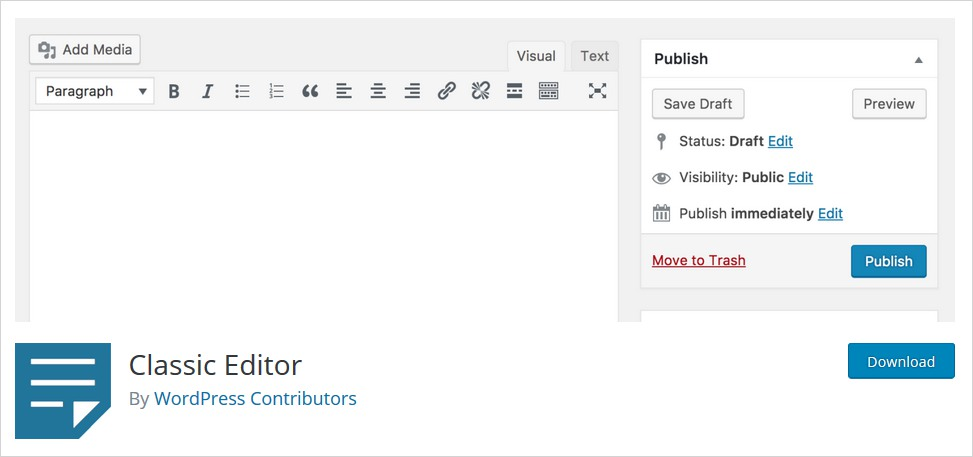Install WordPress Classic Editor Plugin to Disable WordPress Gutenberg Editor