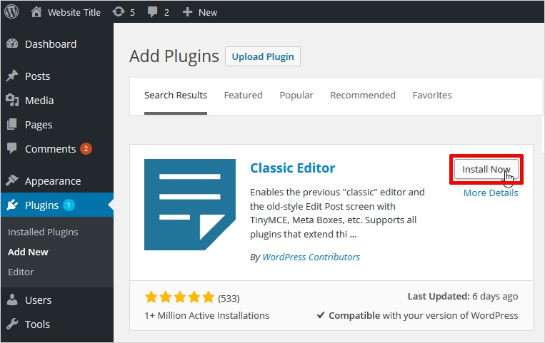 Disable WordPress Gutenberg Editor