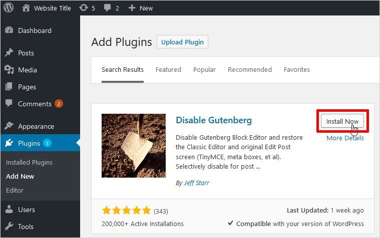 install disable gutenberg