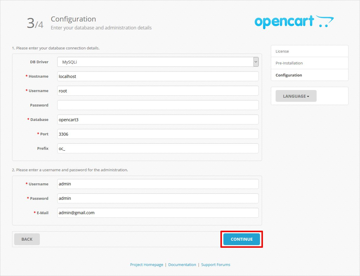 configuration step to install opencart
