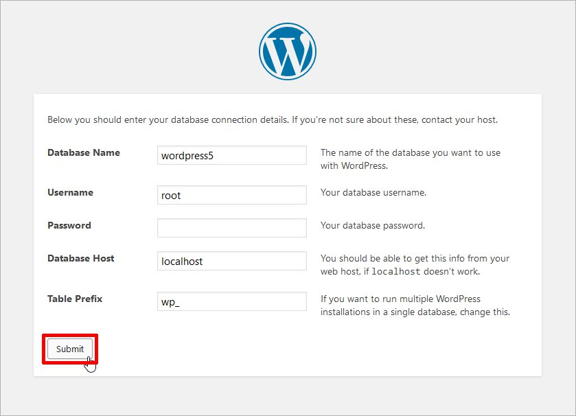 install wordpress wizard
