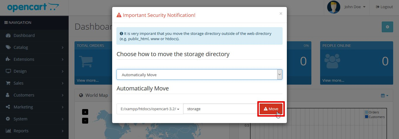 move the storage directory