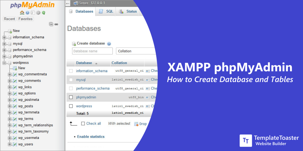 XAMPP phpMyAdmin: How to Create Database and Tables