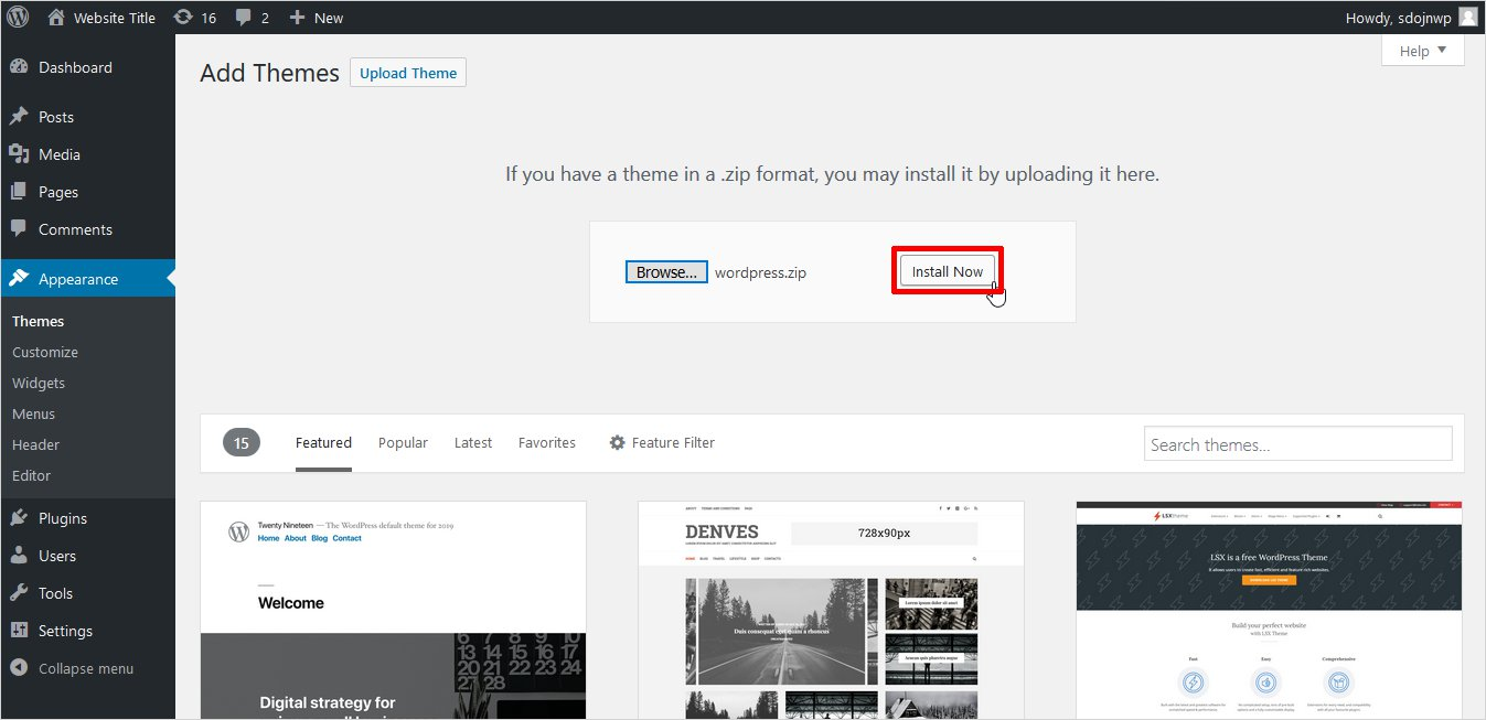 how to install wordpress theme from admin