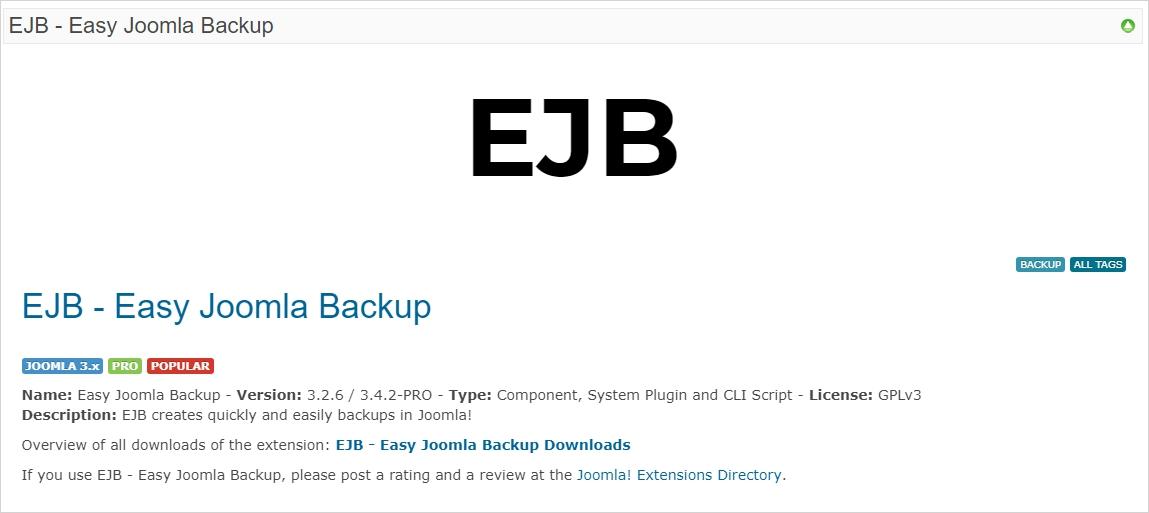 EJB Easy Joomla Backup Extension