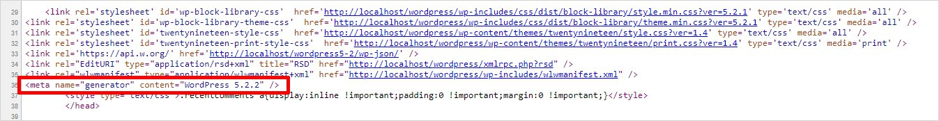Check WordPress Version from Page Source