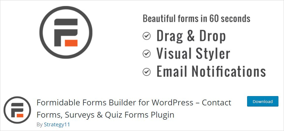 formidable forms wordpress form builder plugin