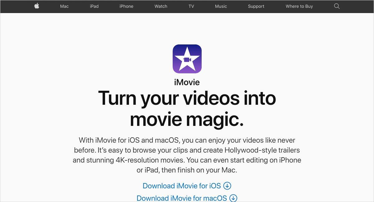 Apple iMovie video editing software