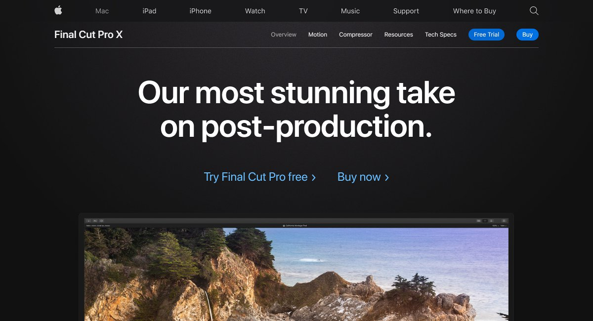 Final Cut Pro X video editing software