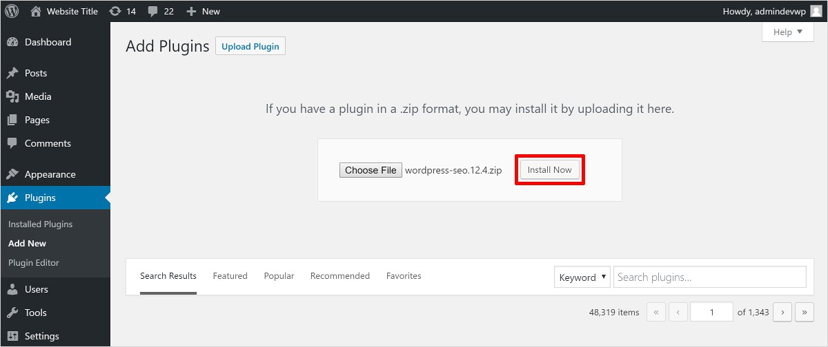 install a WordPress Plugin by uploading