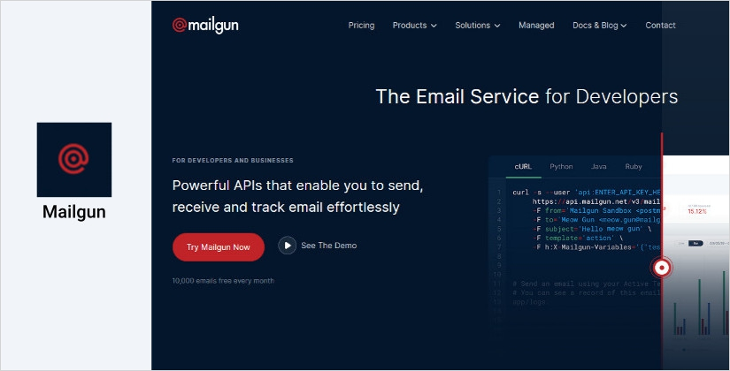 Mailgun email marketing software platform