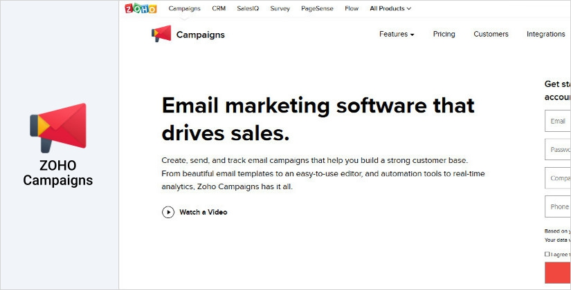 ZOHO Campaigns email marketing management software