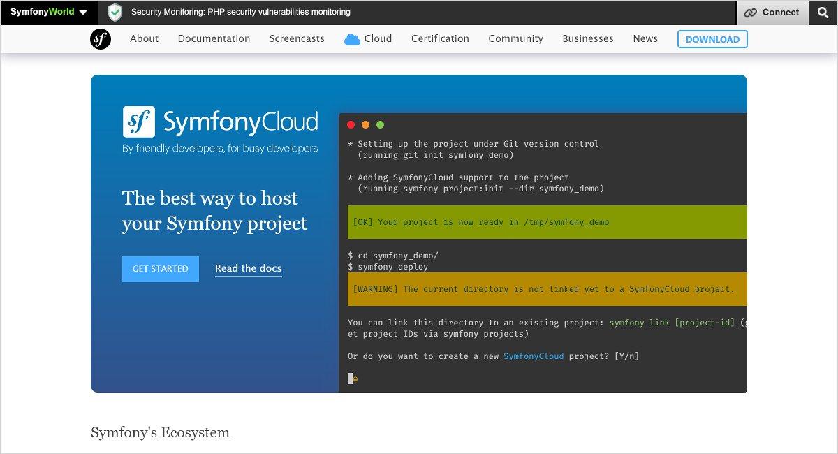 symfony most used php framework