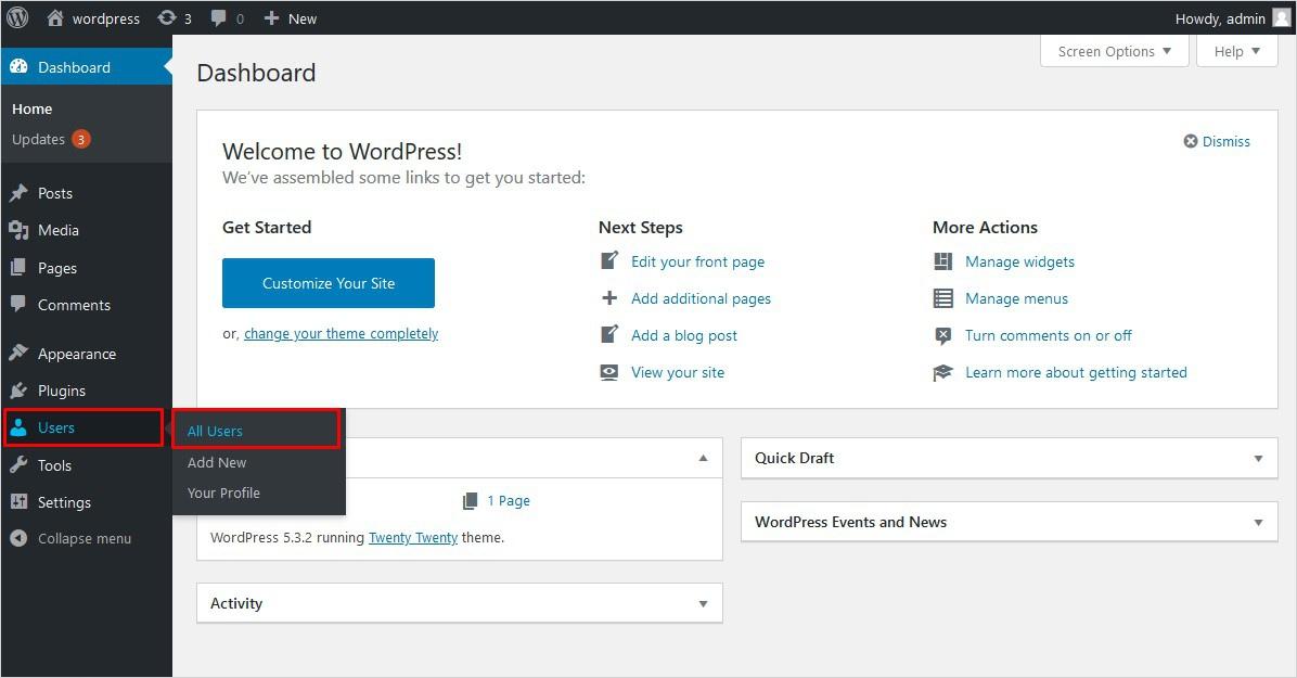 Click All Users on WordPress Dashboard