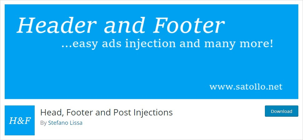 Head, Footer and Post injections wordpress header plugin