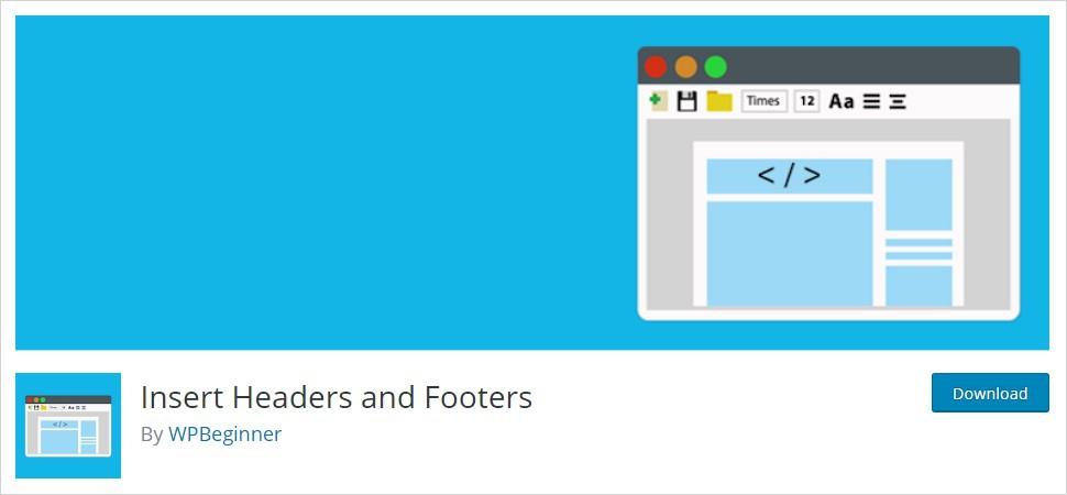 Insert Header and Footer wordpress header plugin
