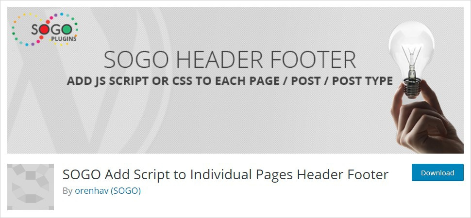 SOGO Add Script to Individual Pages Header Footer wordpress header plugin