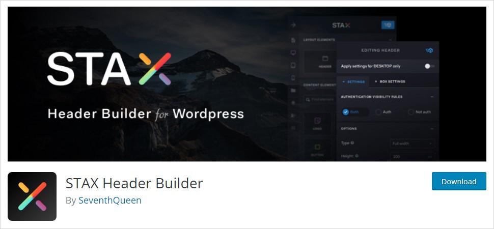 STAX Header Builder wordpress header plugin