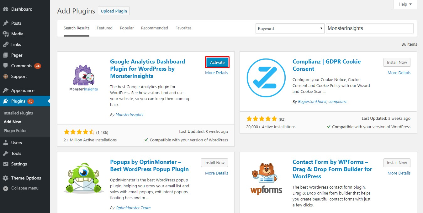 add Google Analytics wordpress using MonsterInsights Plugin