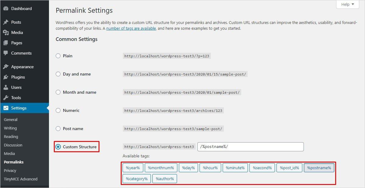 custom structure permalink wordpress settings