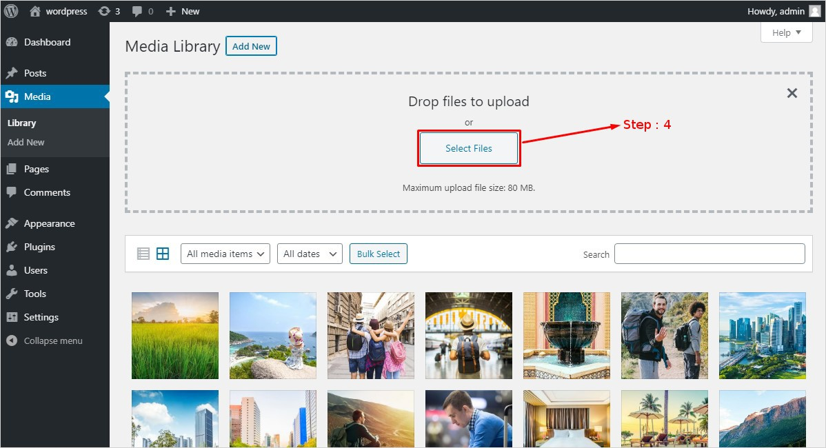 drop the files to WordPress media library