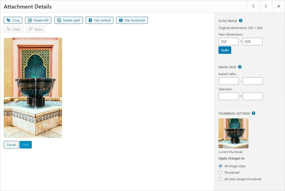 edit image in WordPress media library