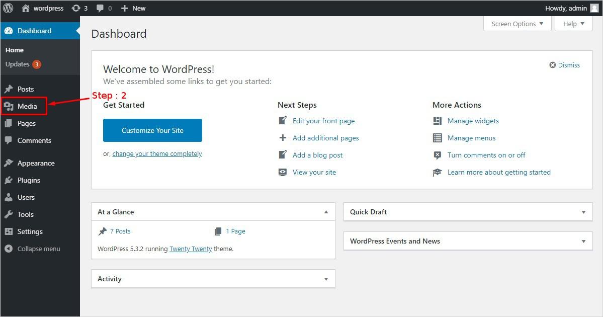 steps to upload WordPress media library