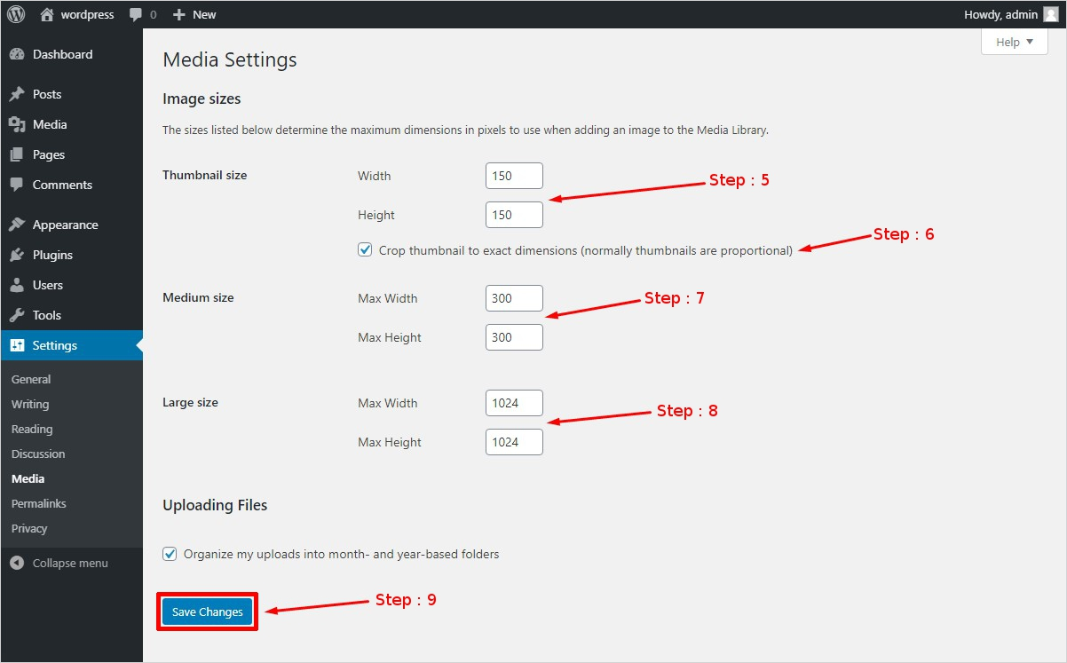 wordpress media setting explained