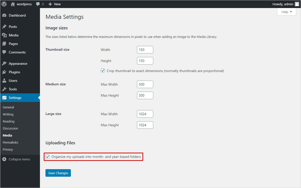 wordpress media settings organize upload month year