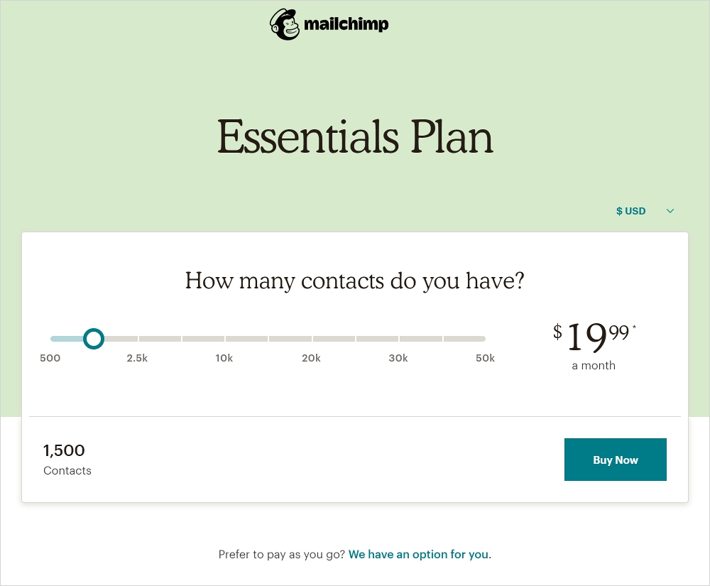 mailchimp plan pricing