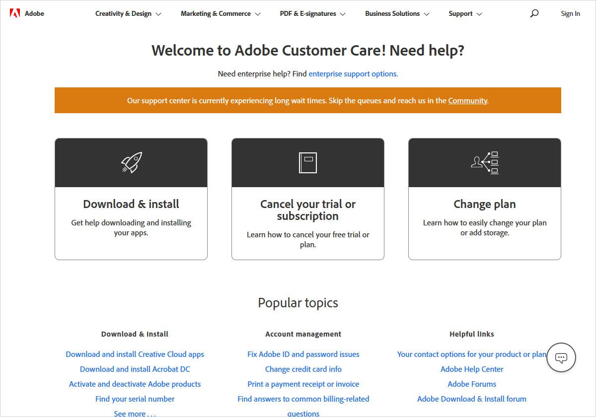 adobe photoshop customer support