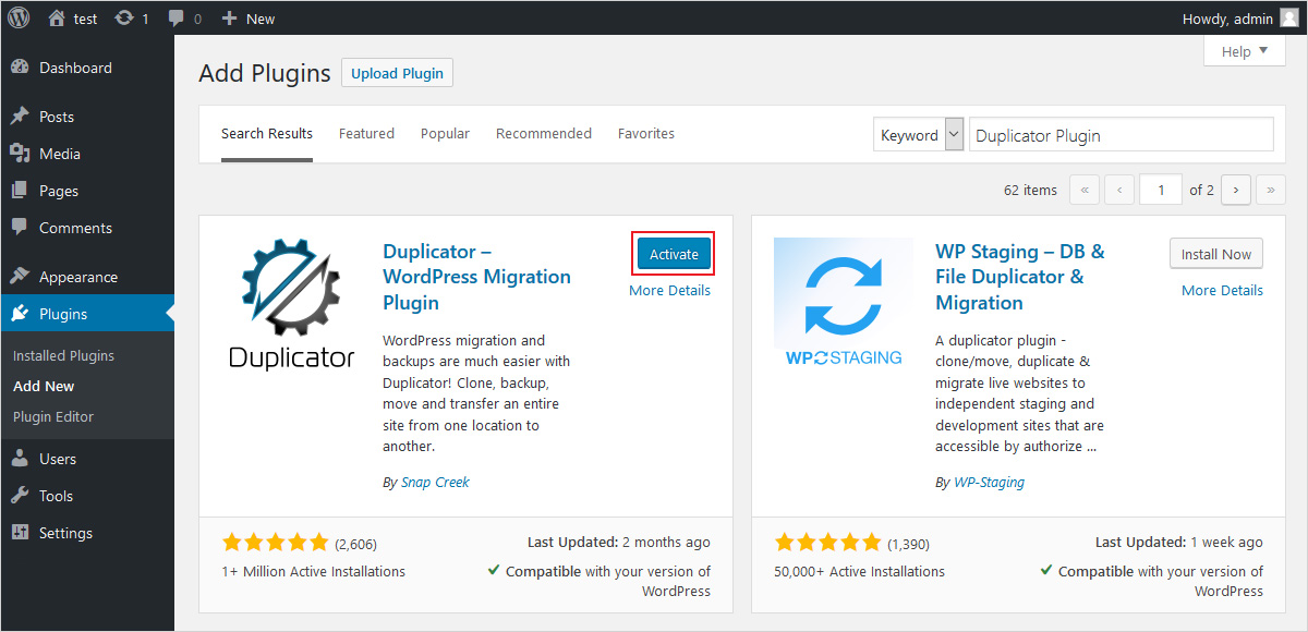 move wordpress site to new domain with duplicator wordpress migration plugin