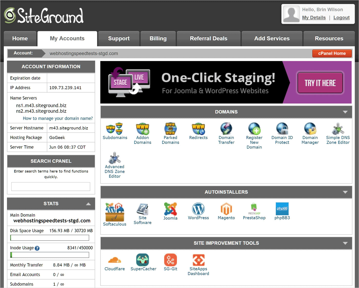 siteground control panel