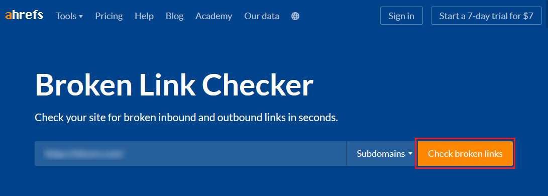 ahrefs broken link checker