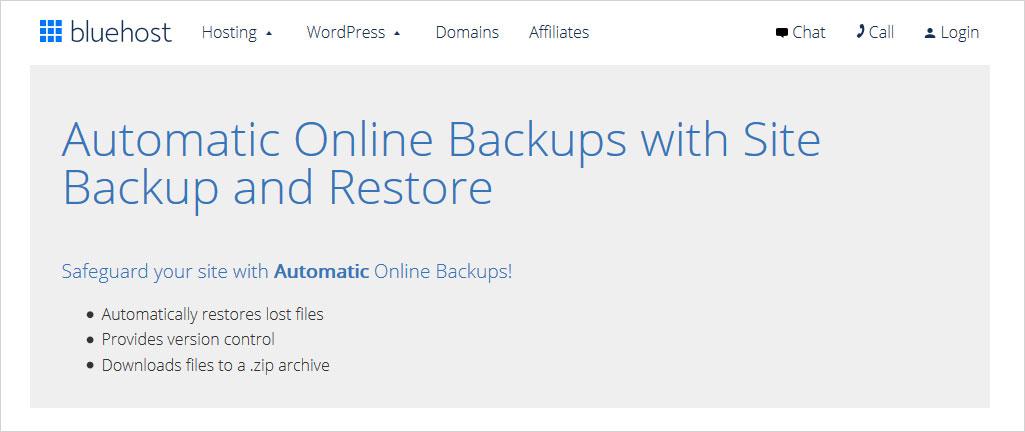 Bluehost vs GoDaddy backup and restore