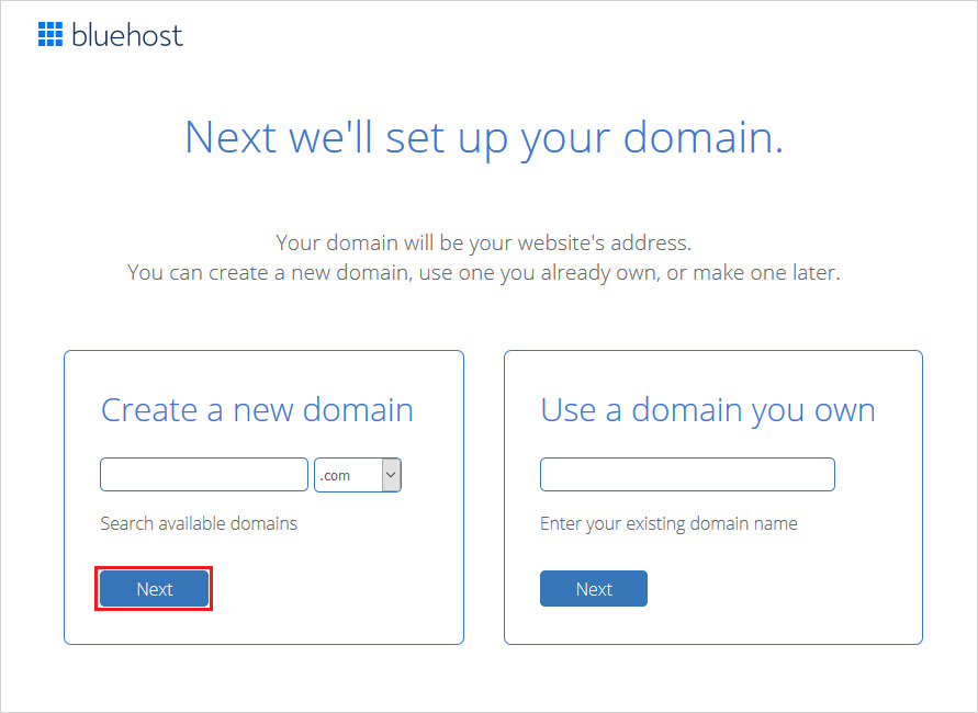 bluehost start with email domain