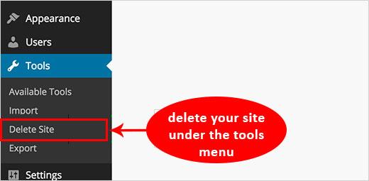 delete blog wordpress site